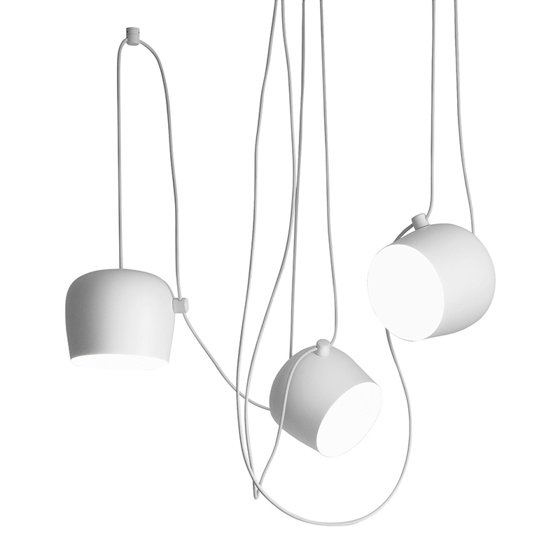 flos set of 3 suspension lamp aim white. Black Bedroom Furniture Sets. Home Design Ideas
