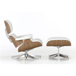 VITRA fauteuil cuir blanc LOUNGE CHAIR & OTTOMAN dimensions classiques