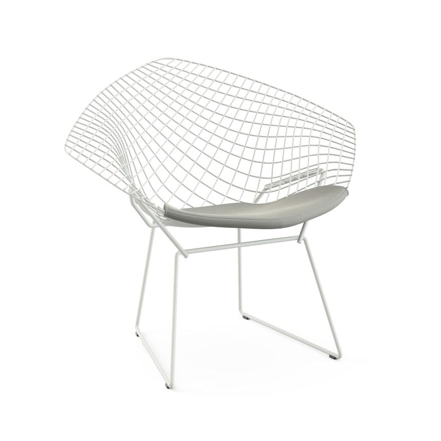 knoll fauteuil avec coussin bertoia diamond structure blanche coussin silver acier tissu. Black Bedroom Furniture Sets. Home Design Ideas