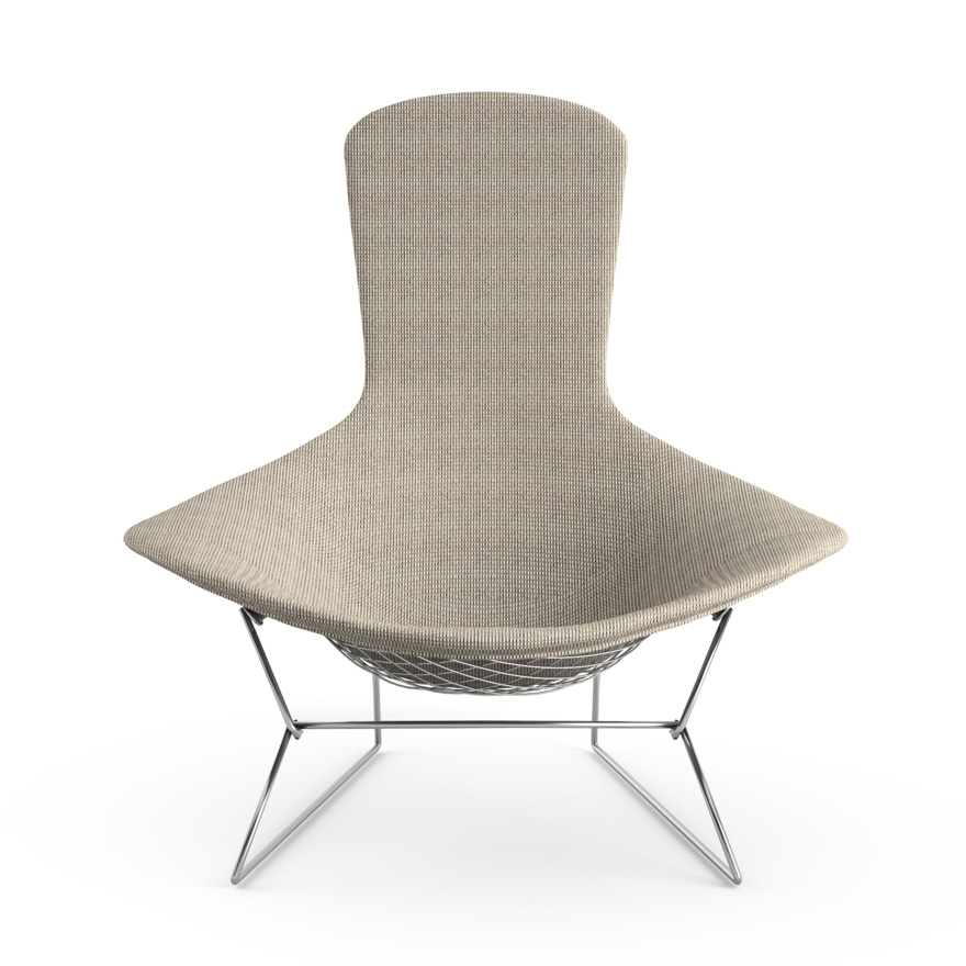 knoll fauteuil relax enti rement tapiss e bertoia structure chrom e rev tement sand acier. Black Bedroom Furniture Sets. Home Design Ideas