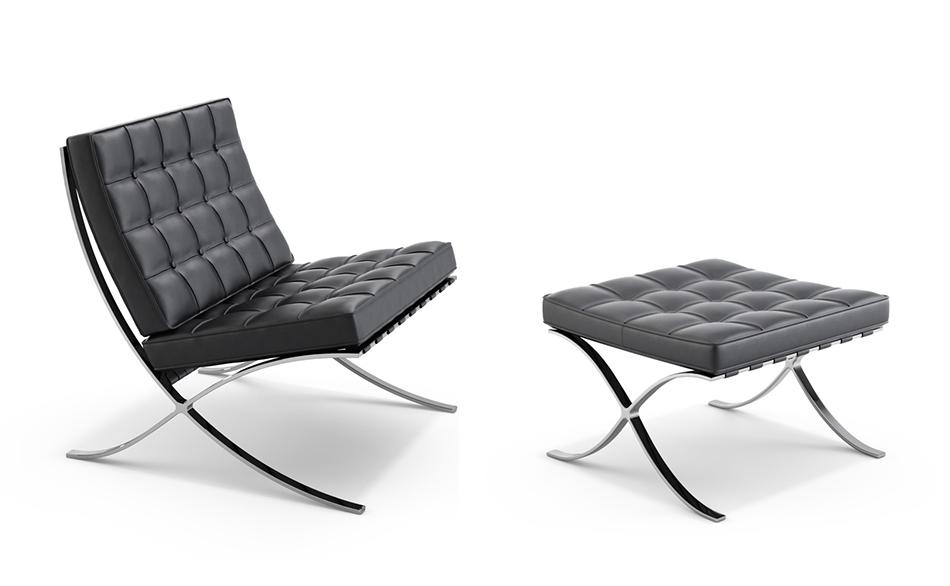 Knoll fauteuil repose pied pouf ottoman barcelona - Fauteuil repose pied ...