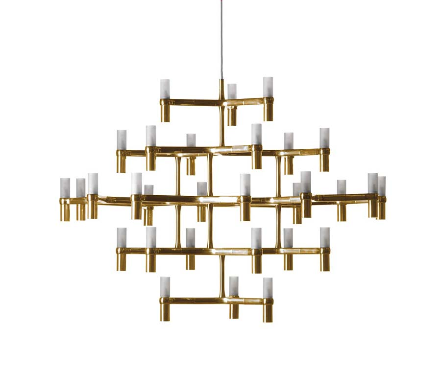 Nemo Suspension Lamp Crown Major Gold Aluminum