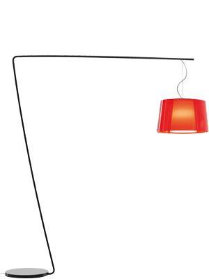 PEDRALI Lampe à terre L001T/BA (Rouge Transparent \ blanc - acier noir/Méthacrylate)