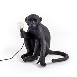 SELETTI lampe de table MONKEY LAMP à LED BLACK EDITION