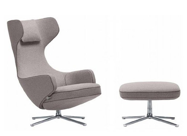 VITRA fauteuil pivotant GRAND REPOS & OTTOMAN (Gris galet H assise 41 cm Tissu Cosy)