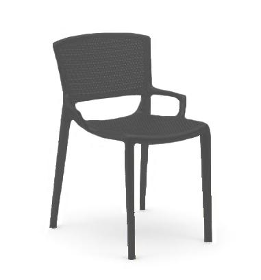 INFINITI set de 4 chaises perforé FIORELLINA (Anthracite - Polypropylène)