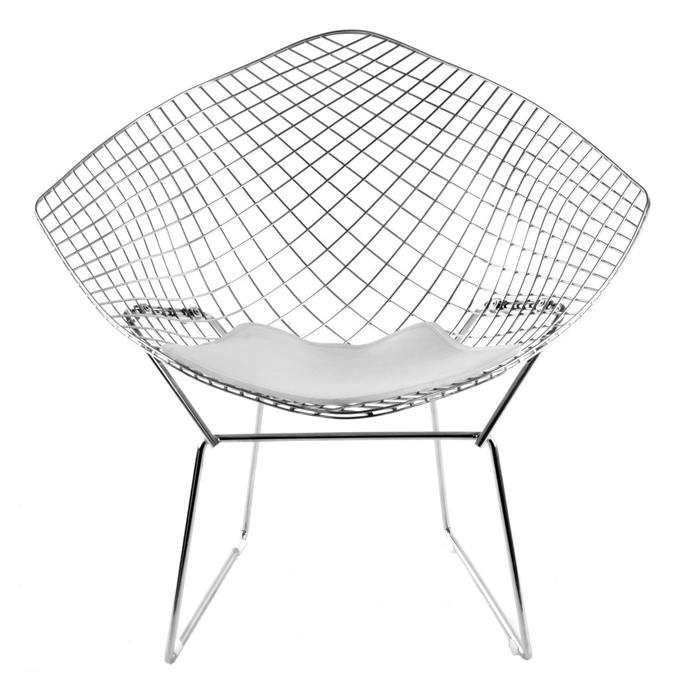 knoll fauteuil avec coussin bertoia diamond structure chrom e coussin blanc acier cuir. Black Bedroom Furniture Sets. Home Design Ideas