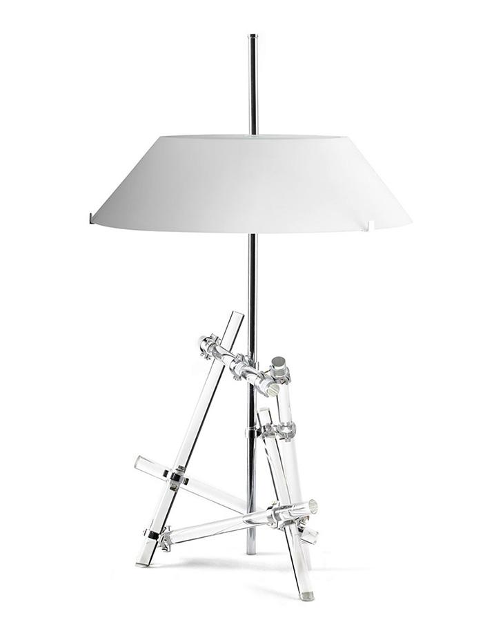 FONTANA ARTE lampe de table ASHANGHAI (Blanc - Laiton chromé et verre)