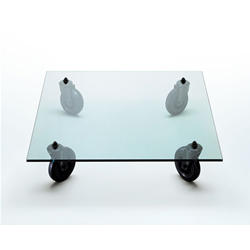 FONTANA ARTE coffee table with wheels TAVOLO CON RUOTE
