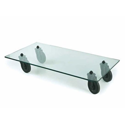 FONTANA ARTE rectangular coffee table with wheels TAVOLO CON RUOTE