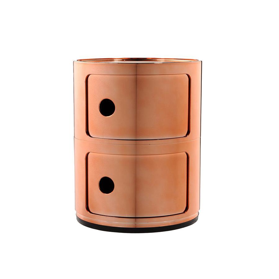 kartell table de chevet componibili deux l ments m tallis s precious collection cuivre abs. Black Bedroom Furniture Sets. Home Design Ideas