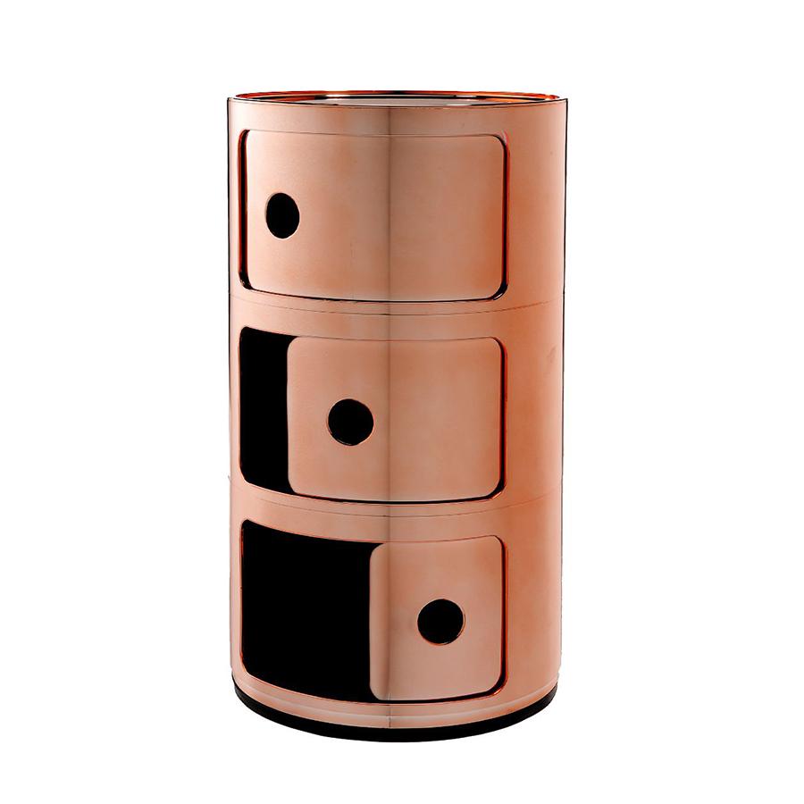 Table De Chevet Componibili kartell table de chevet componibili à trois éléments mÉtallisÉs precious  collection (cuivre - abs métallisé)