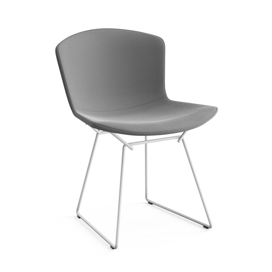 KNOLL chaise entièrement rembourrée BERTOIA (Structure blanche / Revêtement Silver - Acier / Tissu Ultrasuede)