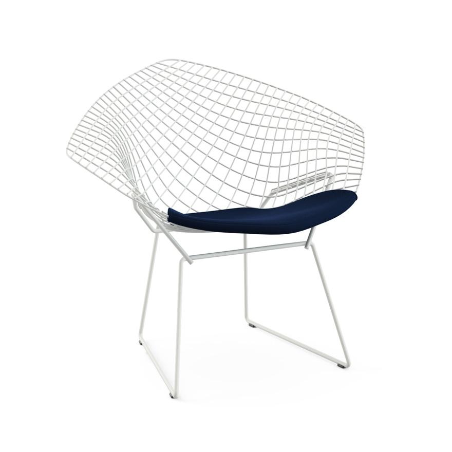 knoll fauteuil avec coussin bertoia diamond structure blanche coussin midnight acier. Black Bedroom Furniture Sets. Home Design Ideas