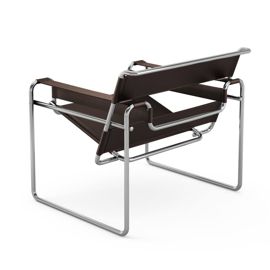 knoll fauteuil wassily by marcel breuer cuir naturel cuir et acier. Black Bedroom Furniture Sets. Home Design Ideas