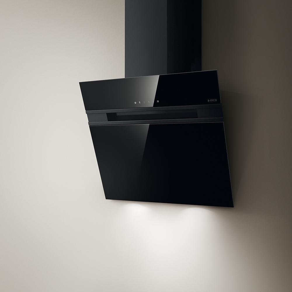 elica hotte murale stripe noir 60 cm verre. Black Bedroom Furniture Sets. Home Design Ideas