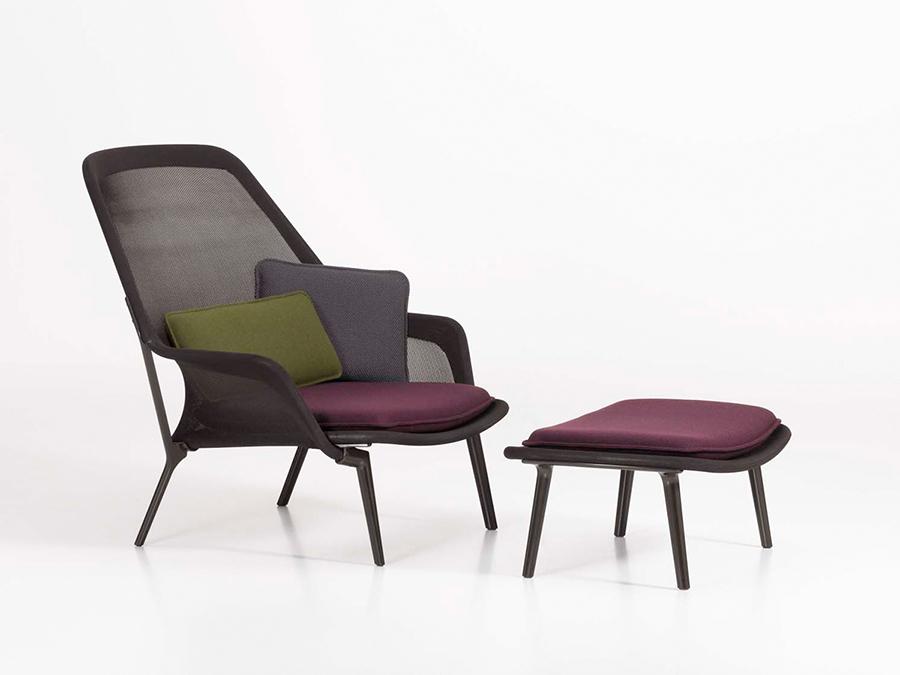 Vitra fauteuil slow chair ottoman marron base for Fauteuil vitra prix
