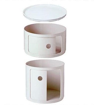 Kartell table de chevet ronde componibili blanc - Table de chevet kartell ...