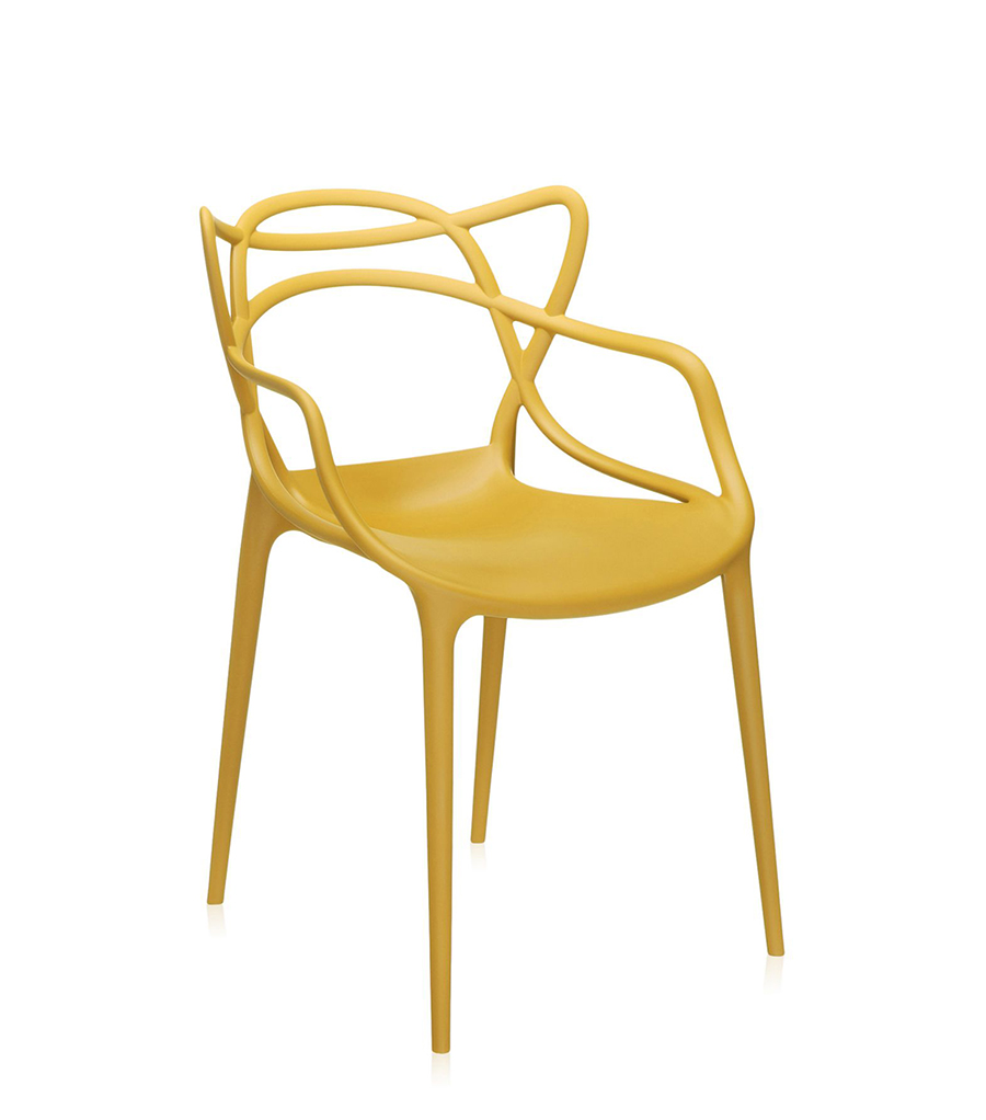 KARTELL set of 2 chairs MASTERS (Mustard - Dyed polypropylene ...