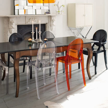 KARTELL set of 2 chairs VICTORIA GHOST (Orange - Transparent ...