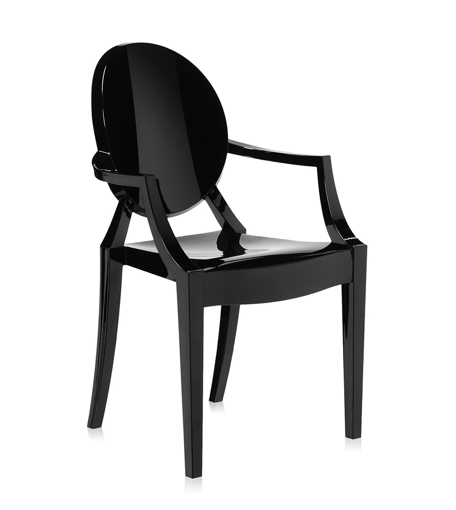 kartell chaise louis ghost noir brillant polycarbonate color dans la masse. Black Bedroom Furniture Sets. Home Design Ideas