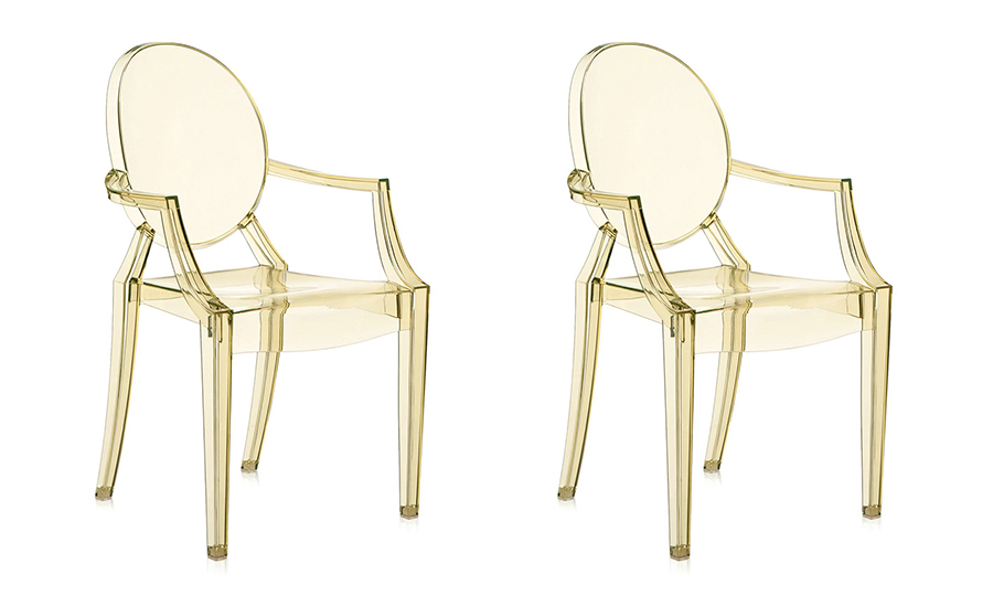 Kartell Set De 2 Chaises Louis Ghost (Jaune - Polycarbonate