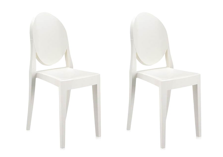 Kartell set of chairs victoria ghost glossy white coloured