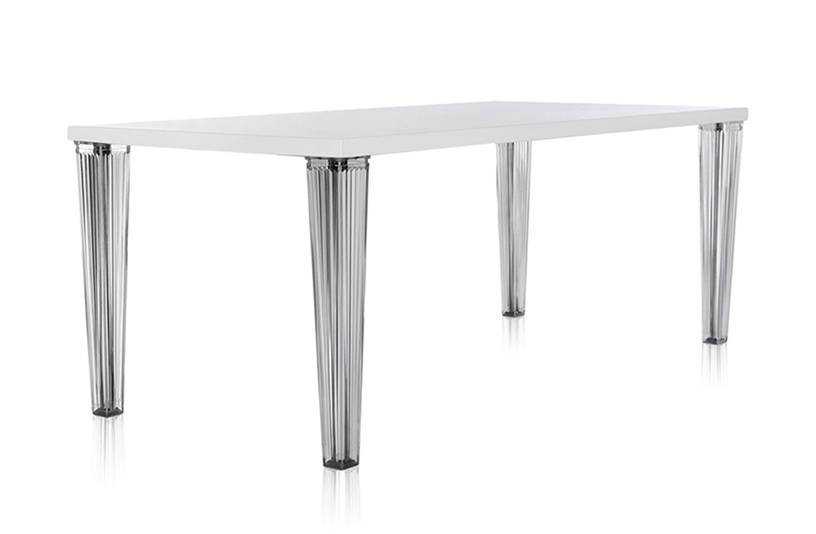 Kartell table top top glass top dim. 190x72x90 white glass top