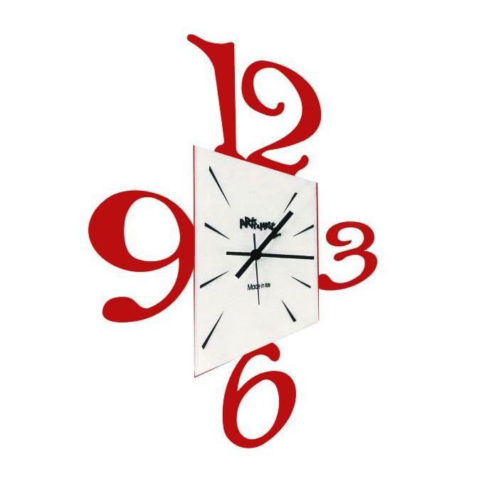 Arti E Mestieri Horloge Murale Prospettiva Rouge Foncé Métal Et