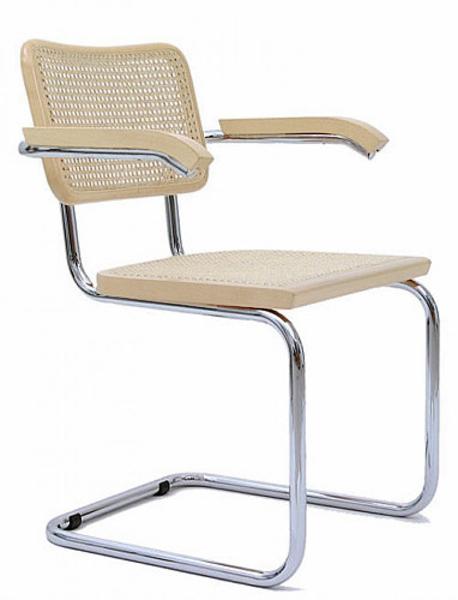 KNOLL fauteuil CESCA by Marcel Breuer (Hêtre naturel - Paille de Vienne et acier)