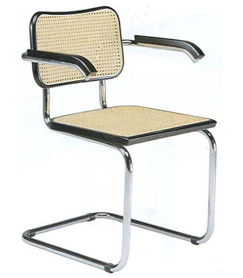 knoll fauteuil cesca by marcel breuer h tre noir laqu paille de vienne et acier. Black Bedroom Furniture Sets. Home Design Ideas