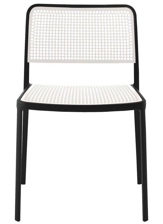 KARTELL set de 2 chaises AUDREY (Structure peinte en noir/ Assise blanche - aluminium / polypropylène)