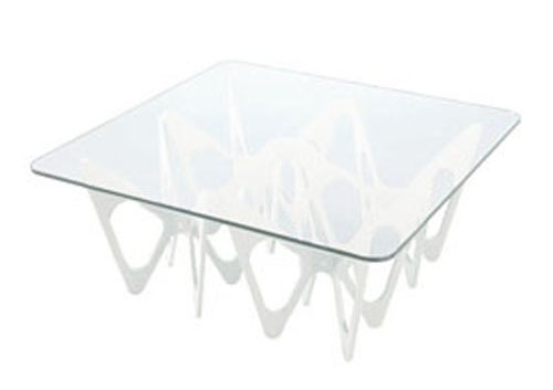 ZANOTTA table basse BUTTERFLY (Noir 90x90 chêne verre