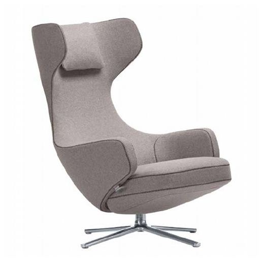 VITRA fauteuil pivotant GRAND REPOS (Gris galet H assise 41 cm Tissu Cosy)