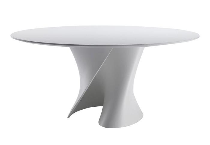 mdf italia table ronde s table 140 cm blanc opaque structure et pleateau en cristalpant. Black Bedroom Furniture Sets. Home Design Ideas