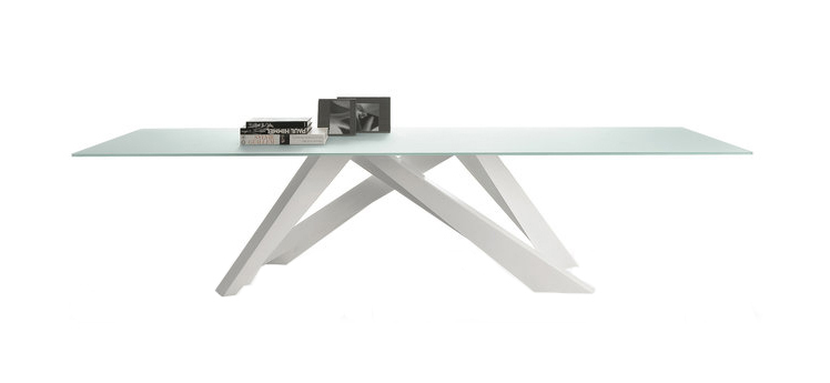 BONALDO BIG TABLE (White 300 cm - crystal top extra-clear white acid ...
