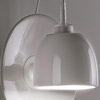 ingo maurer lampe murale applique light au lait blanc porcelaine acier inox. Black Bedroom Furniture Sets. Home Design Ideas