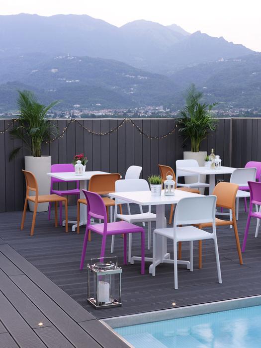 NARDI set de 4 chaises RIVA BISTROT pour extérieur CONTRACT COLLECTION (Anthracite Polypropylène)