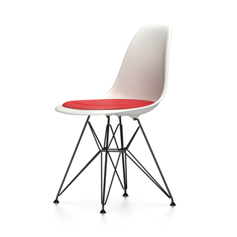 vitra eames plastic side chair with cushion black base dsr new