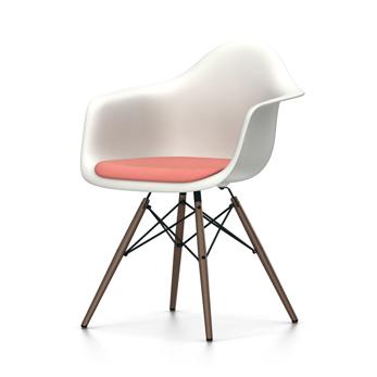 VITRA chaise fauteuil avec coussin et piètement foncé Eames Plastic Armchair DAW NOUVELLES DIMENSIONS (Blanc, coussin rouge coquelicotivoire