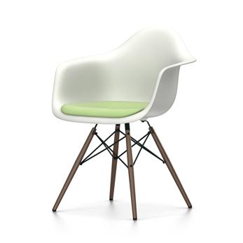 VITRA chaise fauteuil avec coussin et piètement foncé Eames Plastic Armchair DAW NOUVELLES DIMENSIONS (Blanc, coussin vert préivoire Polypropylene