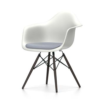 VITRA chaise fauteuil avec coussin et piètement noir Eames Plastic Armchair DAW NOUVELLES DIMENSIONS (Blanc, coussin bleu foncé ivoire