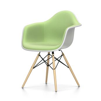 VITRA chaise fauteuil avec rembourrage total Eames Plastic Armchair DAW NOUVELLES DIMENSIONS (Blanc, coussin vert préivoire Polypropylene blanc,