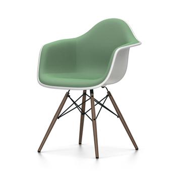 VITRA chaise fauteuil rembourrage total piètement foncé Eames Plastic Armchair DAW NOUVELLES DIMENSIONS (Blanc, coussin mentheforêt Polypropylene