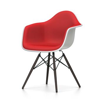 VITRA chaise fauteuil rembourrage total piètement noir Eames Plastic Armchair DAW NOUVELLES DIMENSIONS (Blanc, coussin rougeRouge coquelicot