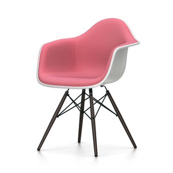 VITRA chaise fauteuil rembourrage total piètement noir Eames Plastic Armchair DAW NOUVELLES DIMENSIONS (Blanc, coussin roserouge coquelicot