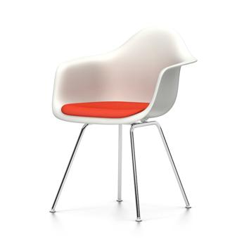 VITRA chaise fauteuil avec coussin Eames Plastic Armchair DAX NOUVELLES DIMENSIONS (Blanc, coussin carailrouge coquelicot Polypropylene blanc,