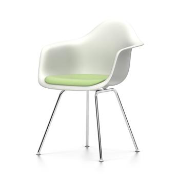 VITRA chaise fauteuil avec coussin Eames Plastic Armchair DAX NOUVELLES DIMENSIONS (Blanc, coussin vert préivoire Polypropylene blanc, acier chromé