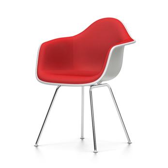 VITRA chaise fauteuil avec rembourrage total Eames Plastic Armchair DAX NOUVELLES DIMENSIONS (Blanc, coussin rougeRouge coquelicot Polypropylene