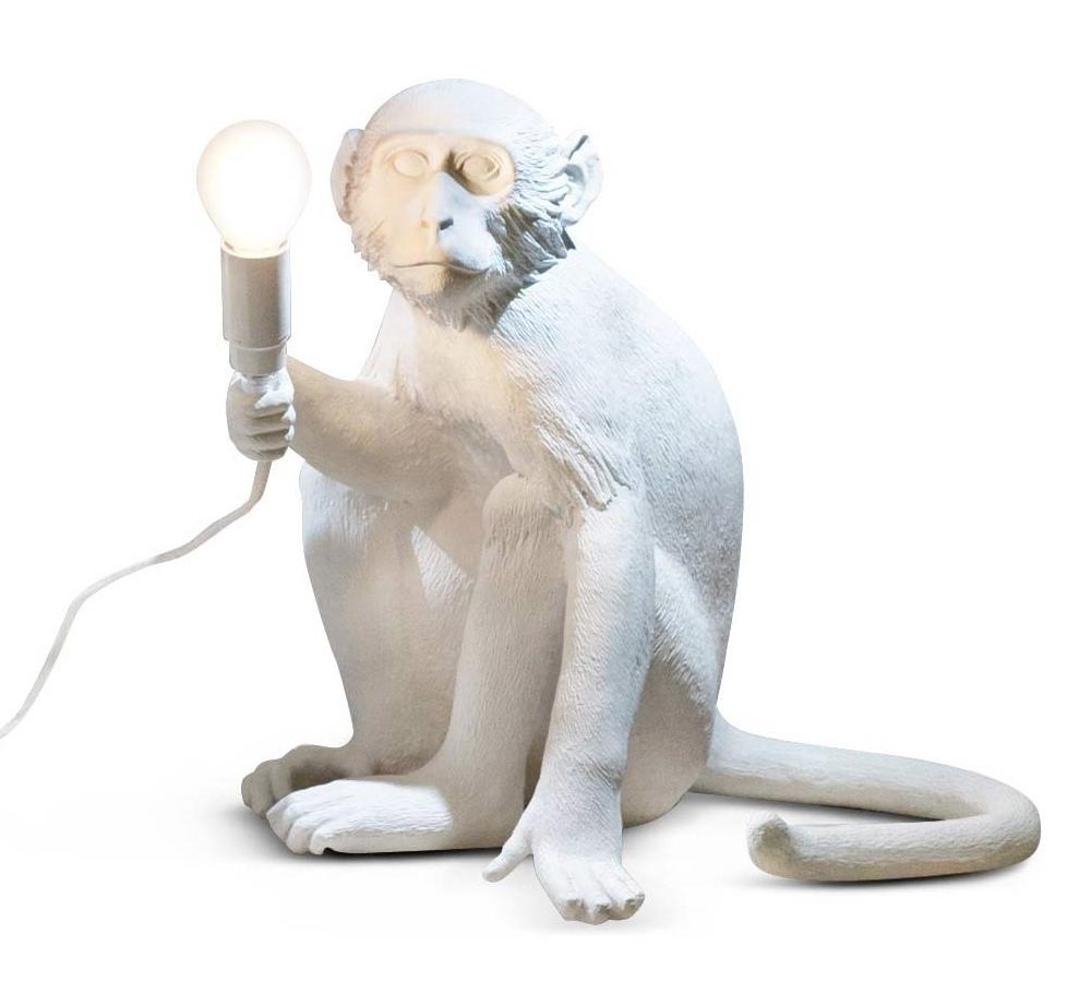 Seletti Lampe De Table Monkey Lamp Led Blanc R Sine  # Table Basse Blanc Avec Lampe Led